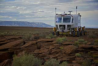 The Lunar Electric Rover crosses the Arizona desert