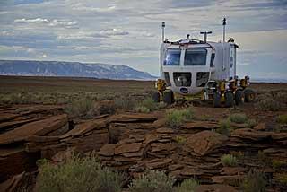 The Lunar Electric Rover crosses the Arizona desert